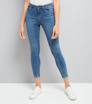 Blue Diamante Embellished Skinny Jenna Jeans New Look