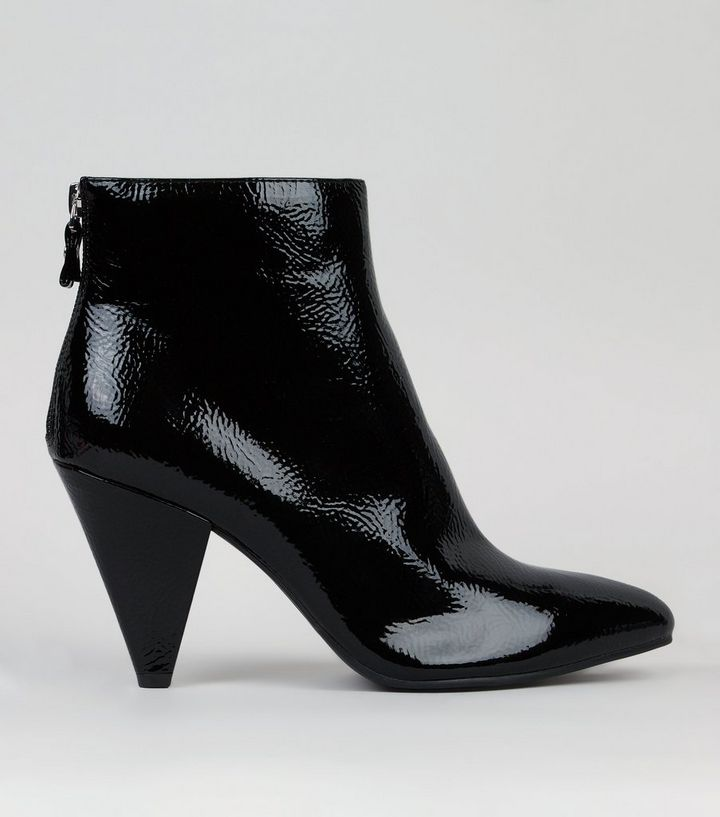 4c0c7a15f77 Black Patent Cone Heel Ankle Boots Add to Saved Items Remove from Saved  Items