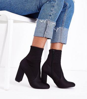 Black Satin Block Heel Sock Boots New Look