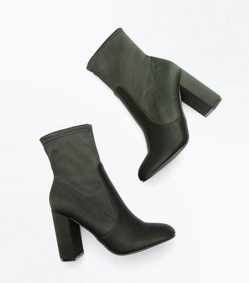 Khaki Satin Block Heel Sock Boots New Look
