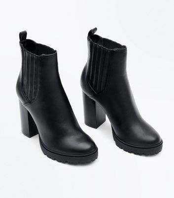 Black Leather Look Block Heel Boots New Look