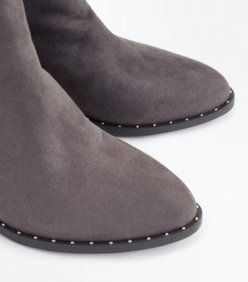 Grey Stud Trim Heeled Ankle Boots New Look