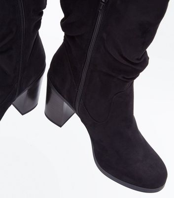 Black Suedette Knee High Block Heel Boots New Look