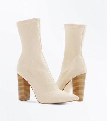 Cream Knitted Block Heel Sock Boots New Look