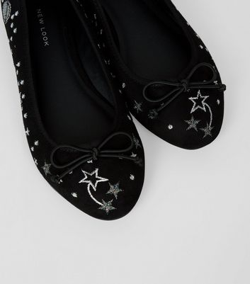 black-suedette-space-embroidered-ballerina-pumps