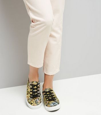 Black Floral Brocade Lace Up Trainers New Look