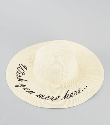 Cream Wish You Were Here Floppy Hat New Look