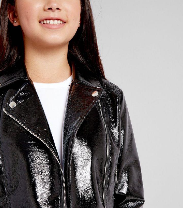 33e7e7339 Teen Black Patent Biker Jacket