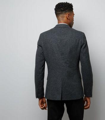 Charcoal Grey Textured Blazer New Look
