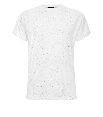 White Spray Wash T-Shirt New Look