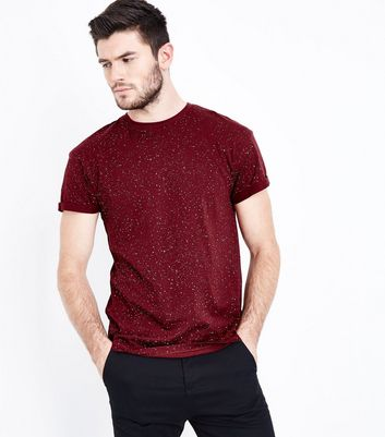 Burgundy Spray Wash T-Shirt New Look