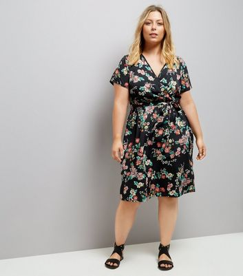 Curves Black Floral Print Wrap Front Dress New Look