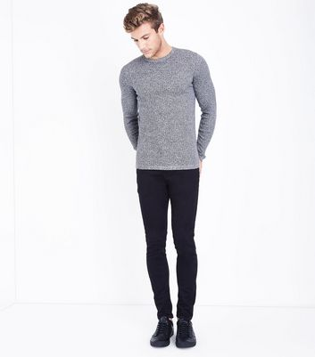 Black Speckled Cotton Ribbed Jumper New Look