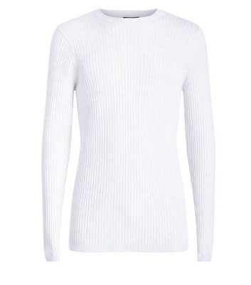White Cotton Ribbed Jumper New Look