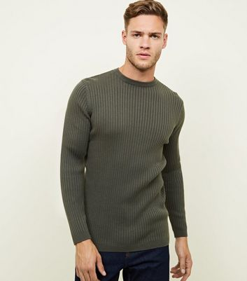 Khaki Ribbed Muscle Fit Jumper