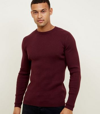 Plum Ribbed Muscle Fit Jumper