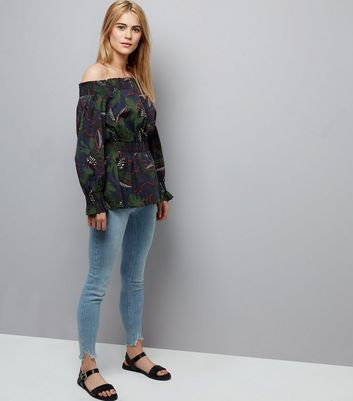 Black Tropical Print Bardot Neck Top New Look