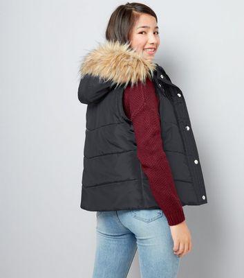 Teens Black Faux Fur Trim Padded Gilet New Look