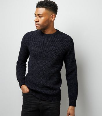 Navy Textured Crew Neck Jumper New Look