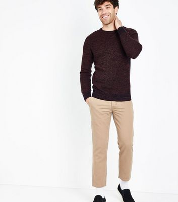 Burgundy Textured Crew Neck Jumper New Look