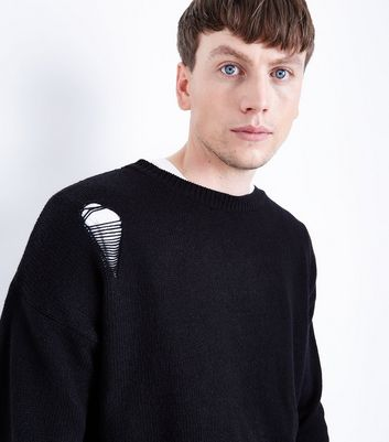 Black Ripped Crew Neck Jumper New Look