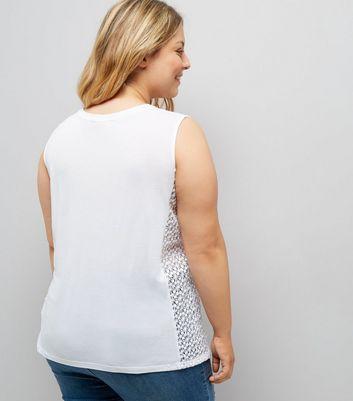 Curves White Skull Print Crochet Side Tank Top New Look