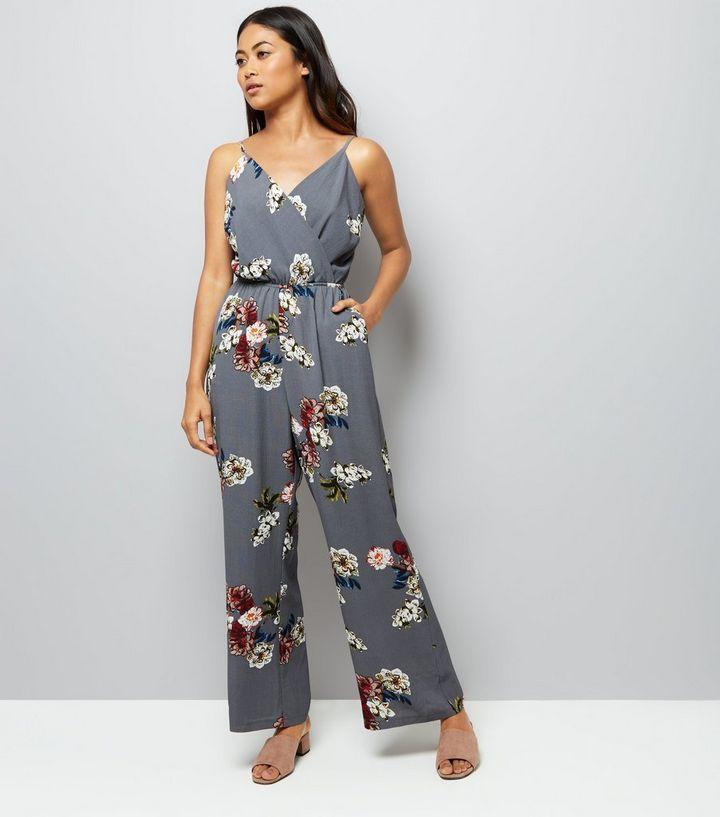 21bae43e7f Petite Grey Floral Print Wrap Front Jumpsuit