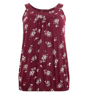 Curves Burgundy Floral Bubble Hem Vest New Look