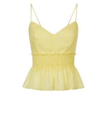 Pale Yellow Spot Shirred Cami New Look