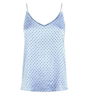 Blue Flocked Spot Cami New Look