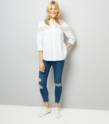 White Lace Insert Shirt New Look