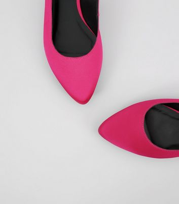 Wide Fit Pink Satin Sling Back Pointed Pumps New Look