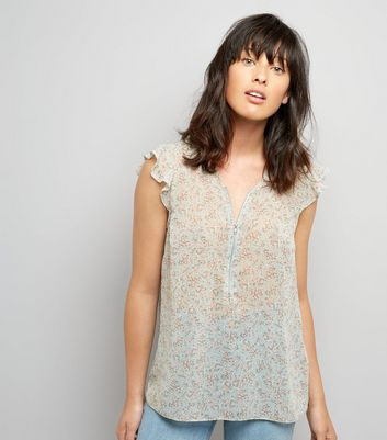 Pale Blue Floral Print Zip Front Top New Look