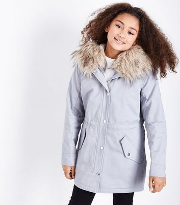 Teens Grey Faux Fur Trim Hooded Parka New Look