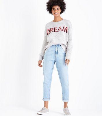 Pale Grey Dream Slogan Jumper New Look