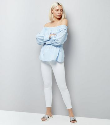 Blue Shirred Bardot Neck Top New Look