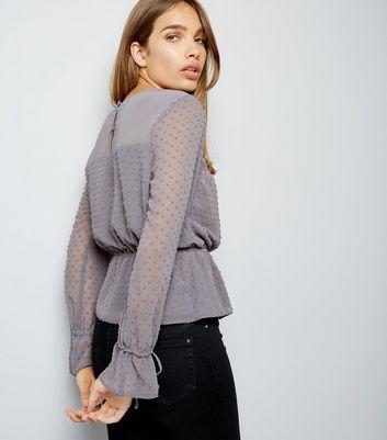 Grey Spot Textured Chiffon Top New Look