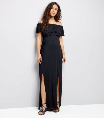 Maternity Black Frill Trim Bardot Neck Maxi Dress New Look