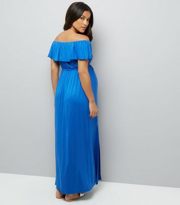 Maternity Blue Frill Trim Bardot Neck Maxi Dress New Look
