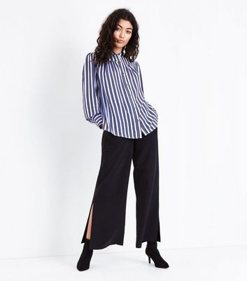 Blue Polka Dot Stripe Swing Shirt New Look