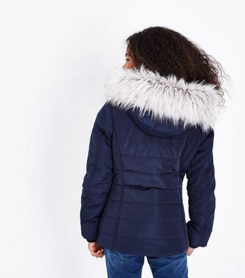 Teens Navy Fitted Puffer Jacket New Look