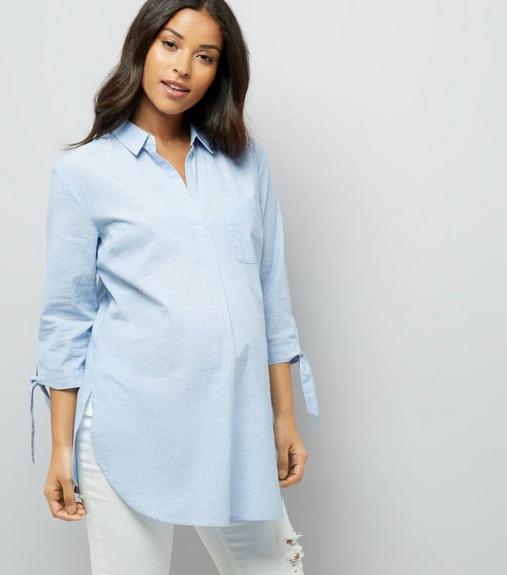 b4d0b6c2acf22f Maternity Pale Blue Tie Sleeve Shirt | New Look