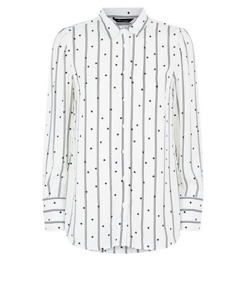 White Stripe and Spot Print Shirt New Look