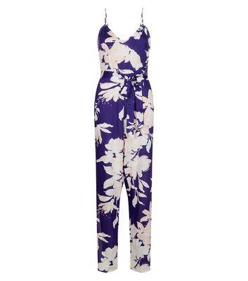 Parisian Blue Floral Print Split Leg Jumpsuit New Look