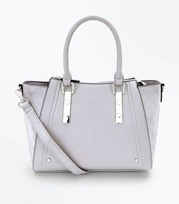 Grey Small Structured Tote Bag By New Look