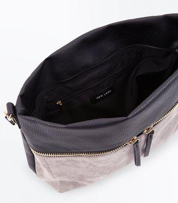 Grey Colour Block Zip Shoulder Bag New Look