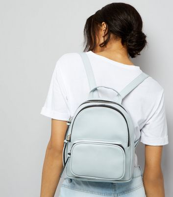 Pale Blue Chunky Zip Mini Backpack New Look