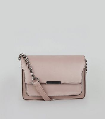 Shell Pink Chain Shoulder Bag New Look