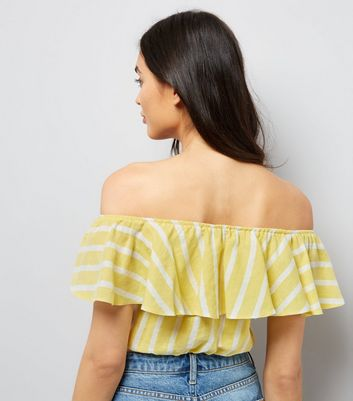 Yellow Stripe Bardot Neck Crop Top New Look