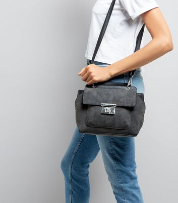Black Suedette Top Handle Shoulder Bag New Look
